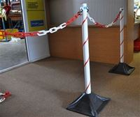 Picture of Queue Post & Chain Kit - WHITE with Red reflective 20mm candy stripe ( Set of 2 )