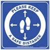 """Picture of Social Distance Floor Stickers """"Please Keep A Safe Distance"""""""