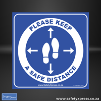 "Picture of Social Distance Floor Stickers ""Please Keep A Safe Distance"""
