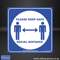 "Picture of Social Distance Floor Stickers ""Please Keep Safe Social Distance"""