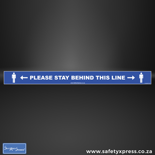 """Picture of Social Distance Floor Stickers """"Please Stand Behind This Line"""""""