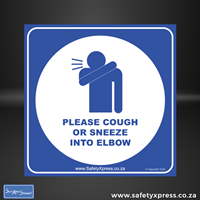 Picture of PLEASE COUGH OR SNEEZE INTO ELBOW Sign