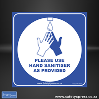 Picture of PLEASE USE HAND SANITISER AS PROVIDED Sign