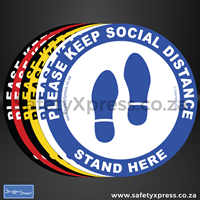 """Picture of Social Distance Floor Sticker Round """"Please Keep Social Distance"""""""